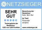 """Netzsieger – Testergebnis """"Sehr Gut"""""""