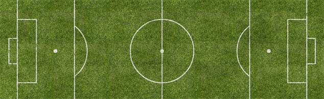 Ein Fußballfeld von oben - der Blickwinkel von Fußball-Kommentatoren