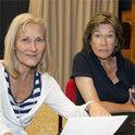 """""""Die Preisträgerinnen"""" bei der Hörspielproduktion: Hedi Kriegeskotte (links) und Tina Engel (rechts)."""