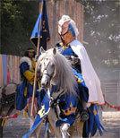 Der Ritter rettet die Adoptivtochter aus dem Feuer.
